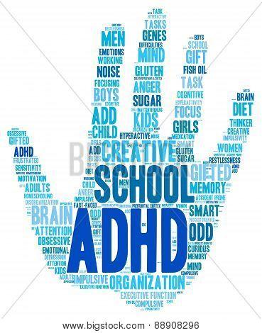 ADHD Hand Shaped Word Cloud