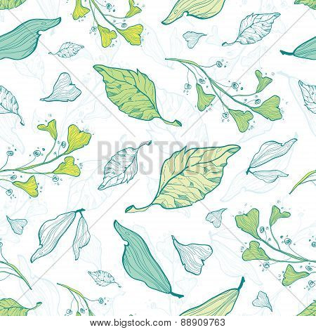 Vector lineart spring leaves seamless pattern background