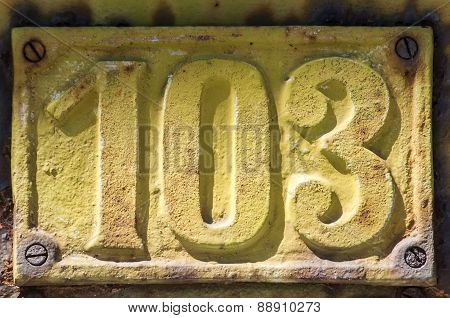Retro cast iron plate number 103