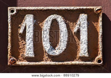Retro cast iron plate number 101