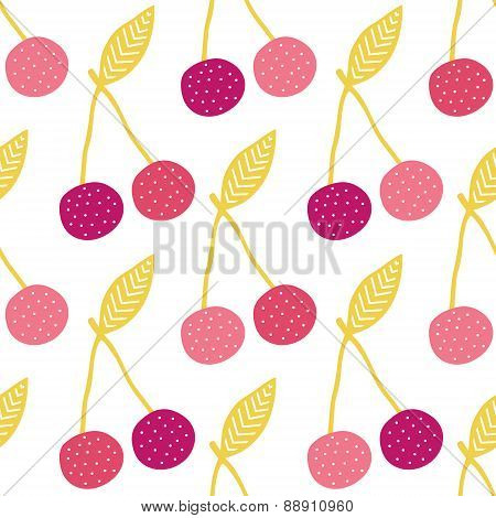 Vector yummy cherries seamless pattern background