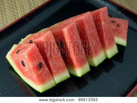 Sliced Of Watermelon On A Black Plate