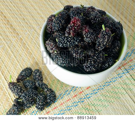 Delicious Fresh Mulberry In A White Bowl