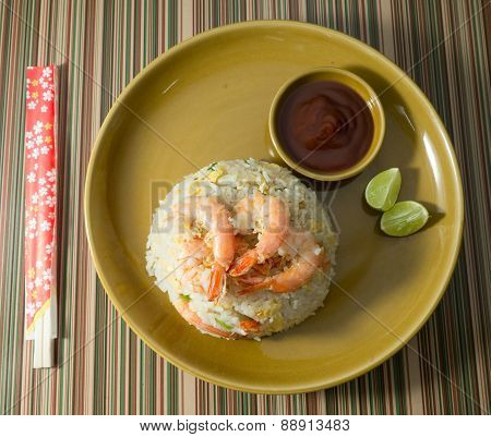 Shrimp Fried Rice with Sauce on A Plate