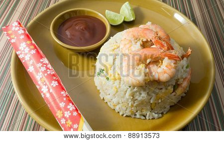 Delicious Shrimp Fried Rice on A Plate