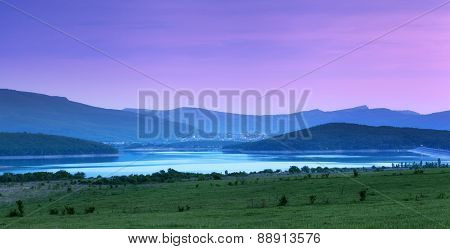 Beautiful Landscape. Sunset In The Mountains In Summer. Lake