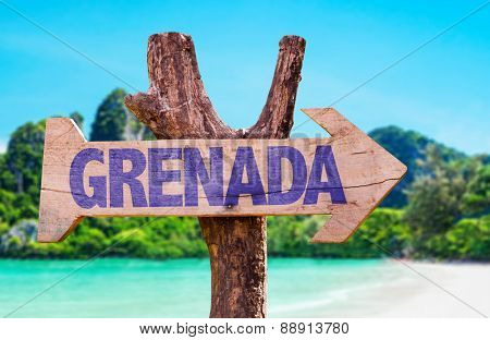 Grenada wooden sign with beach background