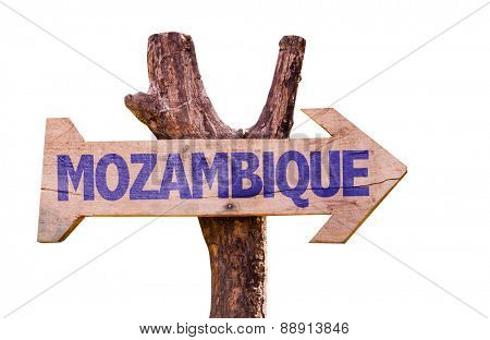 Mozambique wooden sign isolated on white background