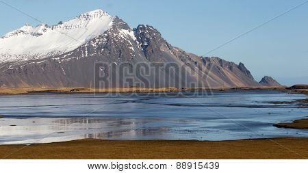 scenic landscape of southern Iceland; of snow-capped mountains, glaciers, grass fields and lakes.