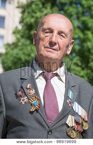 Portrait of a World War II veteran. Kiev, Ukraine