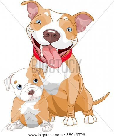 Illustration of cute Pit-bull mother and cub