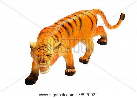 Tiger Toy On White Background