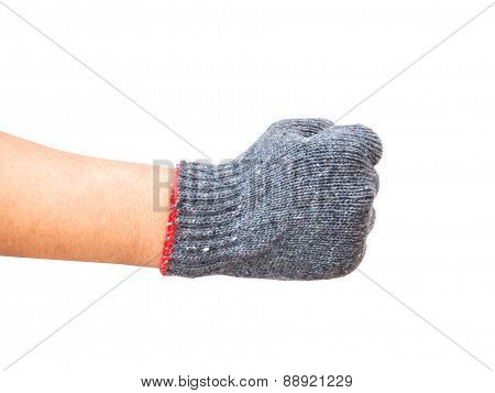Worker Gloved Hand Show Up Right Fist Isolated