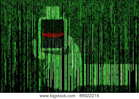 Hand Holding Bottle With Red Word Antivirus In Green Matrix