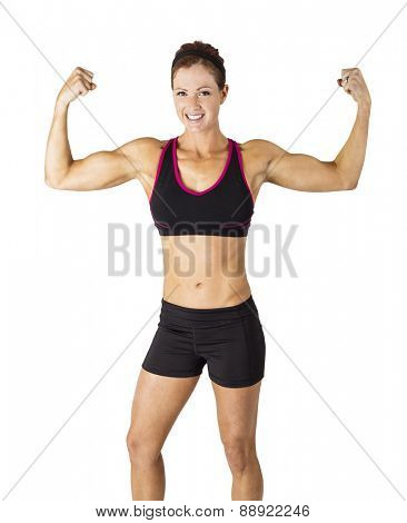 Beautiful strong muscular woman flexing her biceps and arm muscles. Front view of a smiling fitness woman isolated on a white background