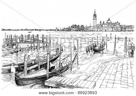 Venice. Quay Piazza San Marco & Island of San Giorgio Maggiore. Gondolas on the water. Vector drawing. Eps10