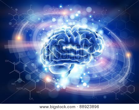 Brain - blue technology concept - radial HUD elements, chemical forms, lights  / vector illustration / eps10
