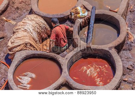 Tannery Workers In Fes Morocco