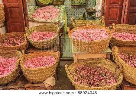 Rose Petals At The Moroccan Souk