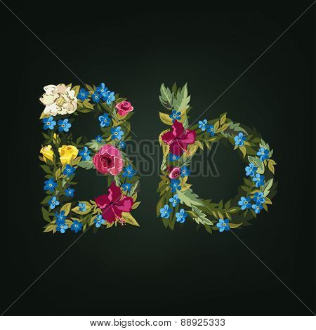 B letter. Flower capital alphabet. Colorful font. Uppercase and Lowercase. Vector illustration.