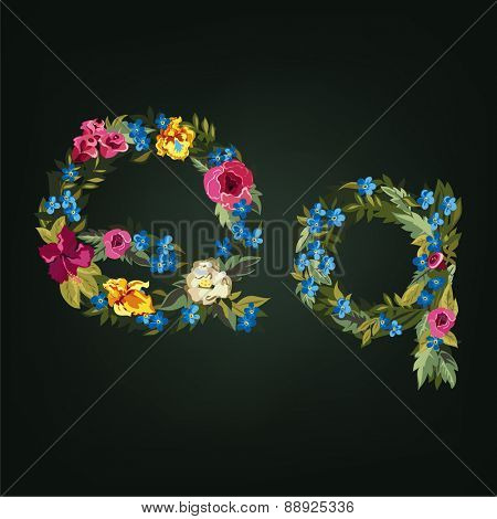 Q letter. Flower capital alphabet. Colorful font. Uppercase and Lowercase. Vector illustration.