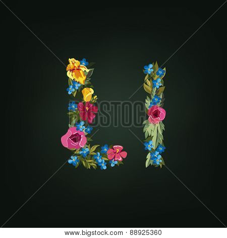 L letter. Flower capital alphabet. Colorful font. Uppercase and Lowercase. Vector illustration.