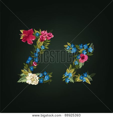 Z letter. Flower capital alphabet. Colorful font. Uppercase and Lowercase. Vector illustration.
