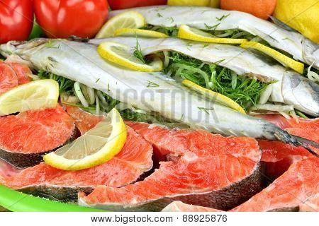 Large Dish With Fresh  Stuffed Fish And Salmon Steak