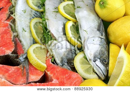 Dish With Fresh  Stuffed Fish And Salmon Steak