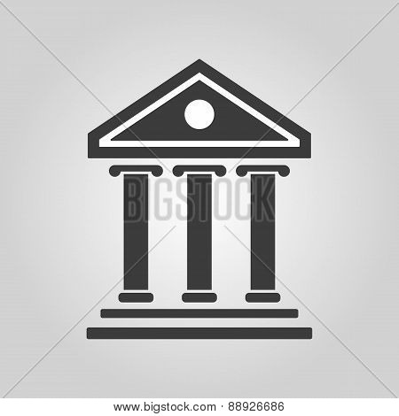 The Bank Icon. Building Facade Symbol. Flat