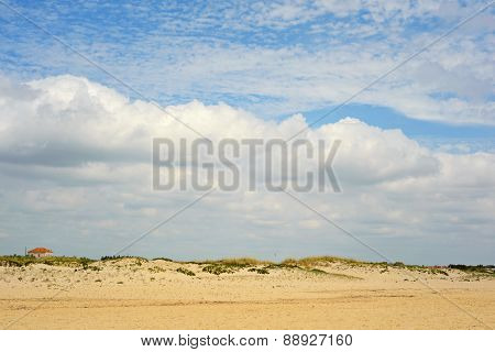 Spanish landscape with sand and sky with clouds
