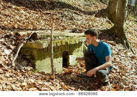 Teenager Boy Drinking Water From An Well