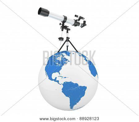 Silver Telescope On Tripod Over Earth Globe