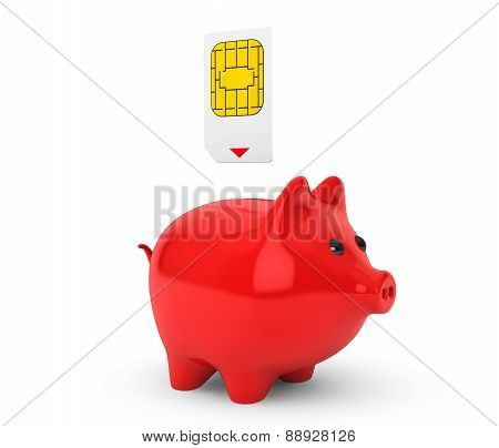 Sim Card Putting Into Piggy Bank