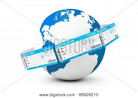 Online Booking Concept. Bus Tickets Around Earth Globe