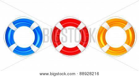 Blue, Red And Orange Lifebuoys