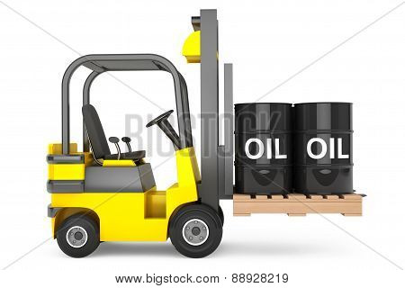 Forklift Truck With Oil Barrels Over Pallet