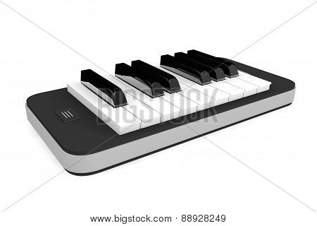 Music App Concept. Piano Keys Over Mobile Phone