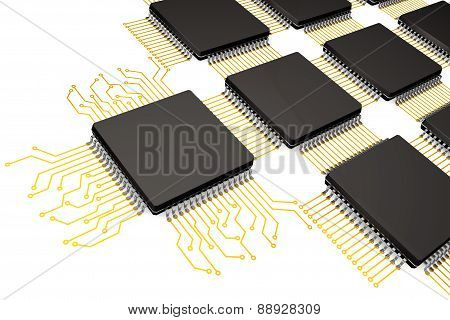 Cpu Microchips As Circuit