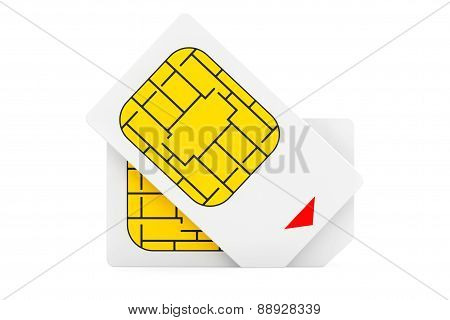 Mobile Telecommunication Concept. Macro View Of Sim Cards