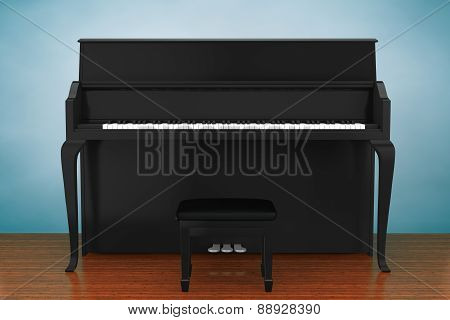 Old Style Photo. Black Piano