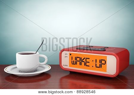 Old Style Photo. Digital Alarm Clock With Coffee Cup