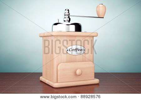 Old Style Photo. Wooden Coffee Mill