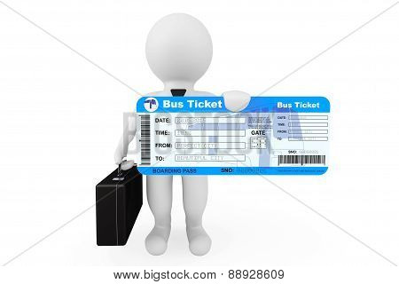 3D Businessman Hold Bus Boarding Pass Ticket