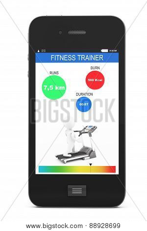 Mobile Phone With Fitness Tracker Application
