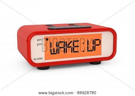 Modern Digital Alarm Clock With Wake Up Sign