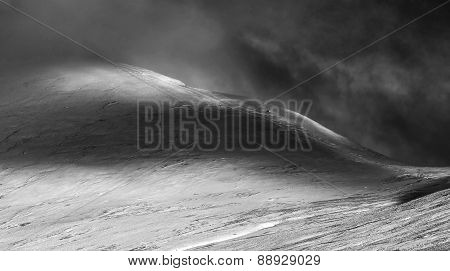 Beautiful Morning Winter Sunlight On Mountain Landscape Black And White