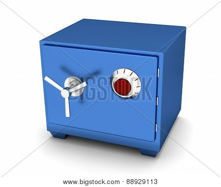 Safety Deposit Box Blue Color On A White Background. 3D Render