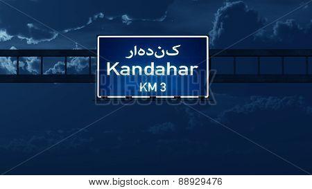 Kandahar Afghanistan Highway Road Sign At Night