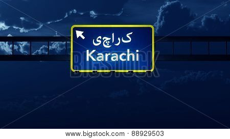 Karachi Pakistan Highway Road Sign At Night
